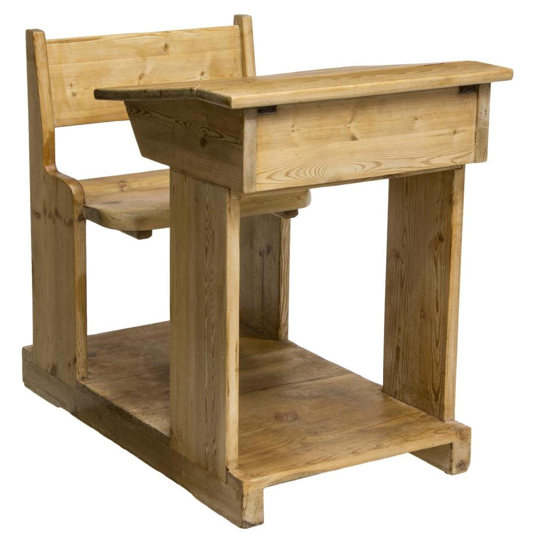 CHILD'S SCHOOL HOUSE PINE DESK AND CHAIR ON BASE - 3