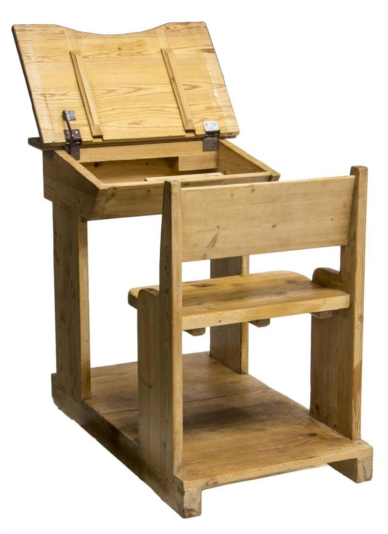 CHILD'S SCHOOL HOUSE PINE DESK AND CHAIR ON BASE - 4