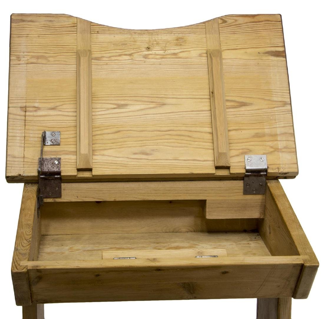 CHILD'S SCHOOL HOUSE PINE DESK AND CHAIR ON BASE - 5