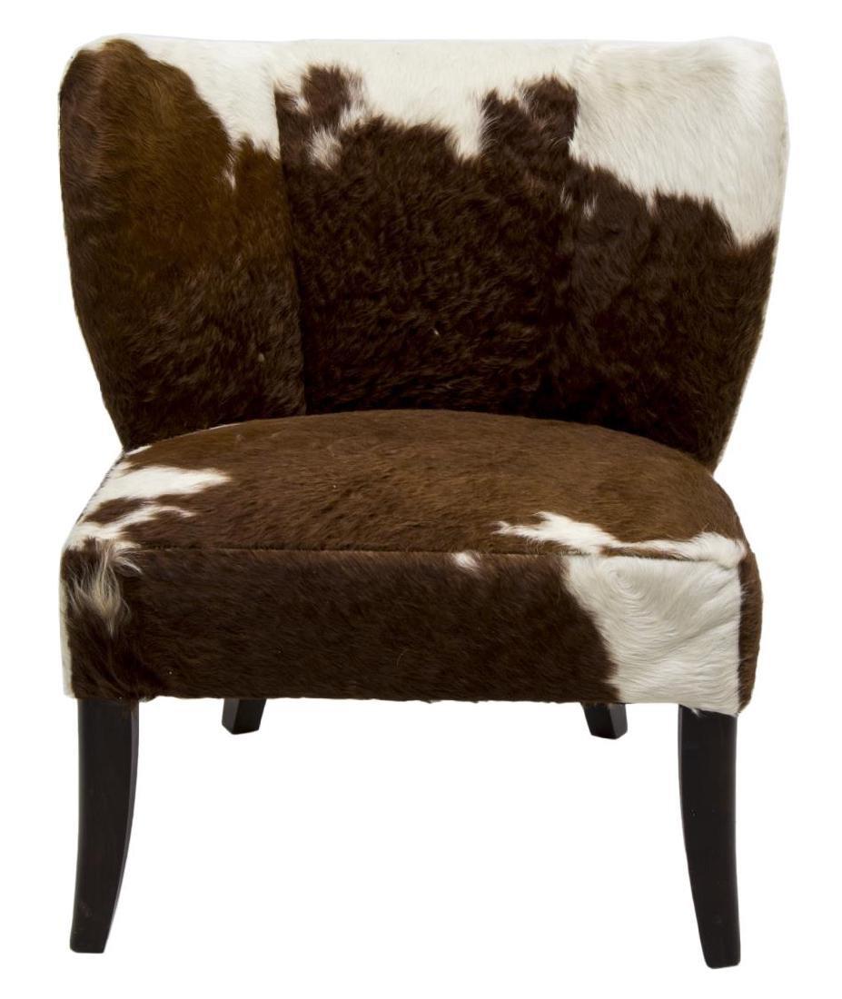 MODERN BROWN & WHITE COWHIDE CHAIR - 2