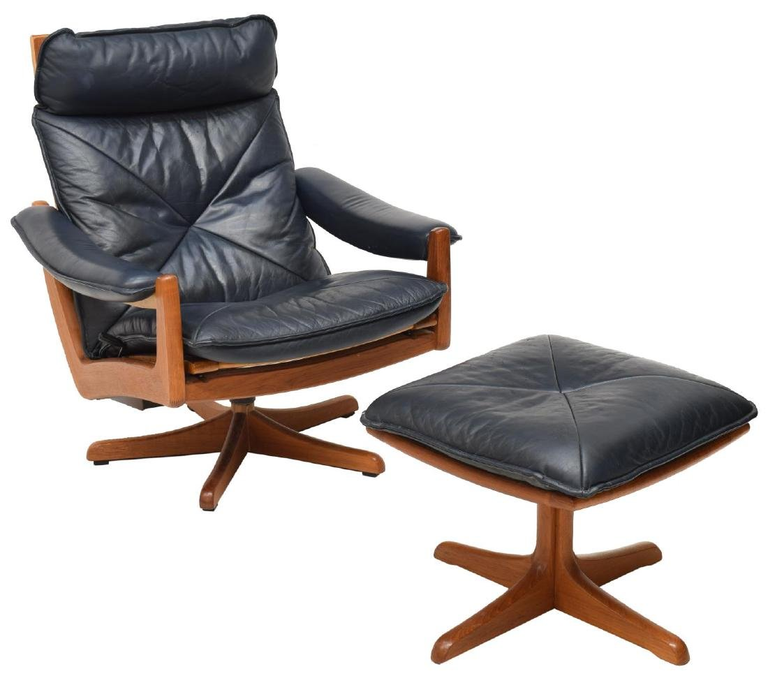 (2) DANISH LIED MOBLER LEATHER CHAIR & OTTOMAN