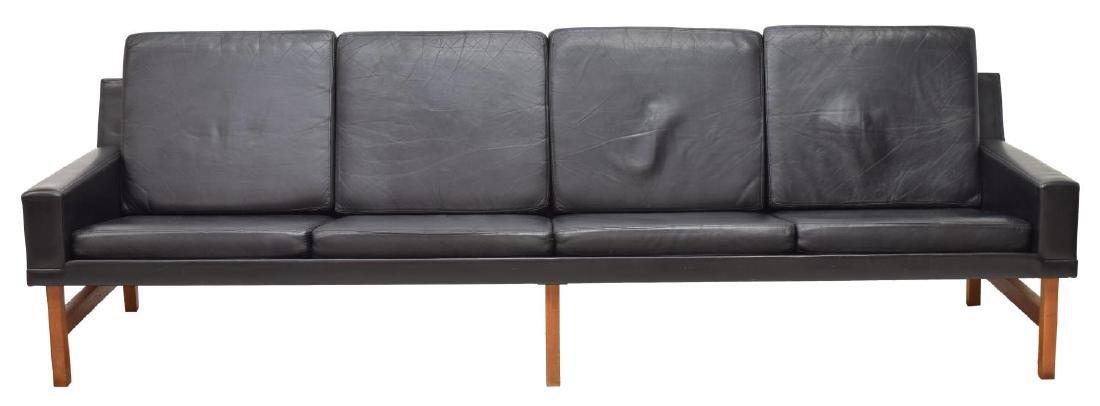 DANISH MID-CENTURY MODERN FOUR SEAT LEATHER SOFA - 2