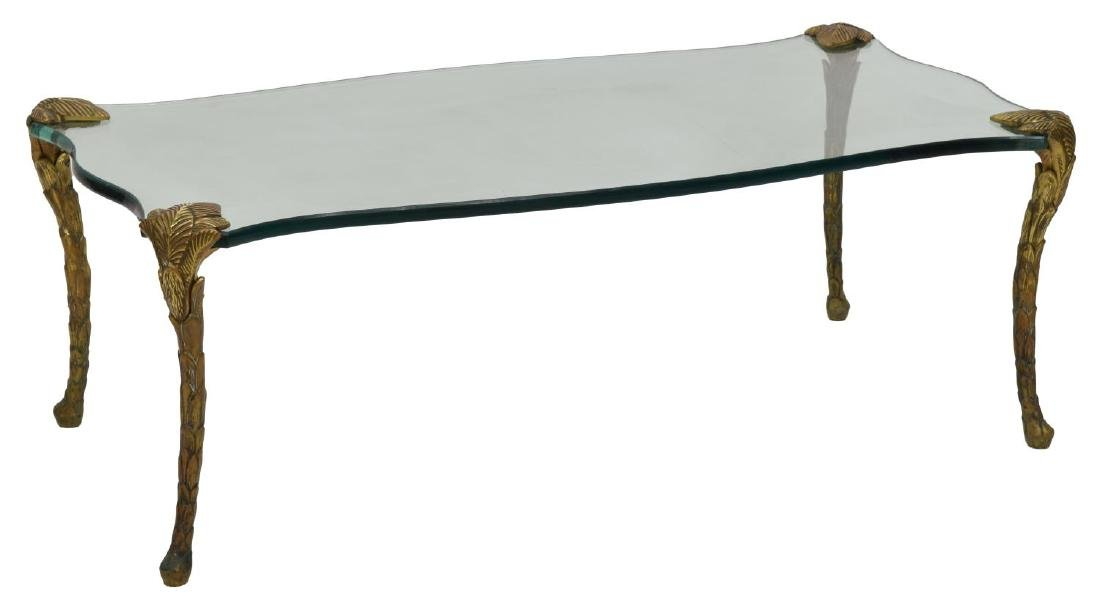 MAISON CHARLES ATTRIB. GLASS & BRONZE COFFEE TABLE