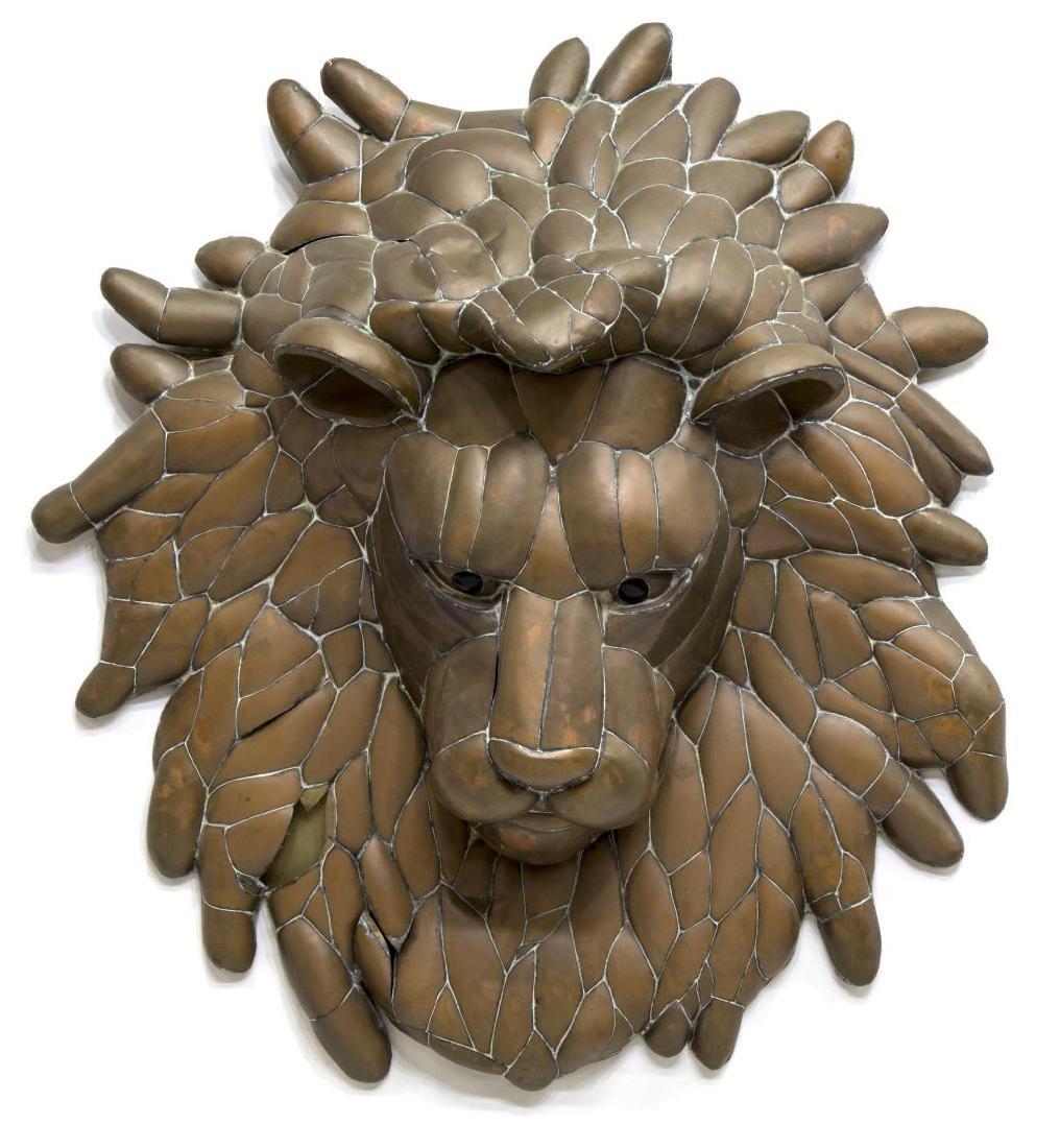 SERGIO BUSTAMANTE LION HEAD WALL SCULPTURE