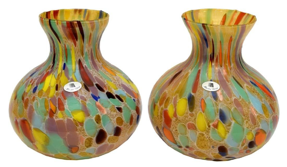 (2) LARGE ITALIAN ART GLASS FLECKED MURANO VASES - 3