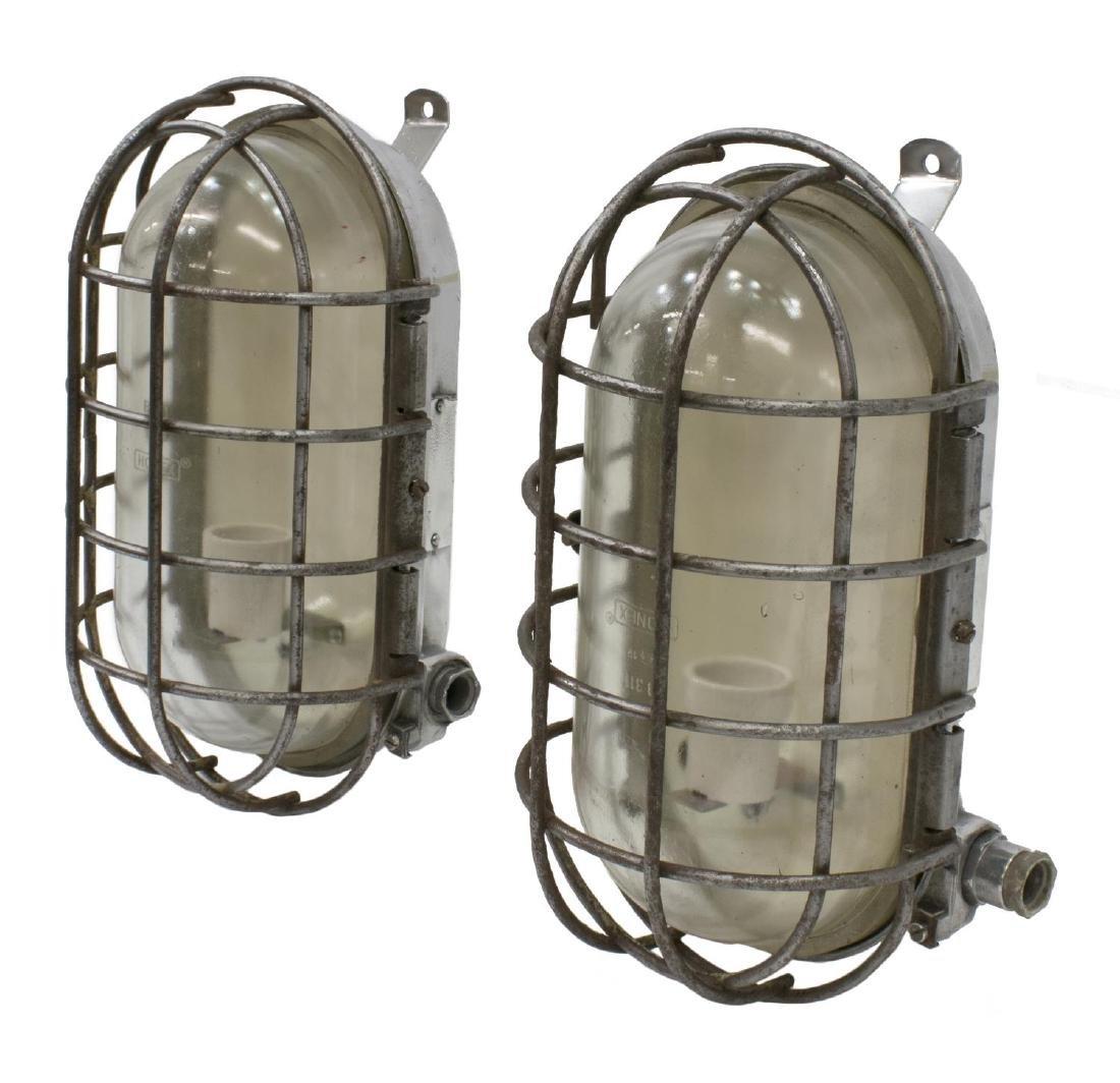 (2) VINTAGE INDUSTRIAL ALUMINUM CAGED SHIPS LIGHTS - 2