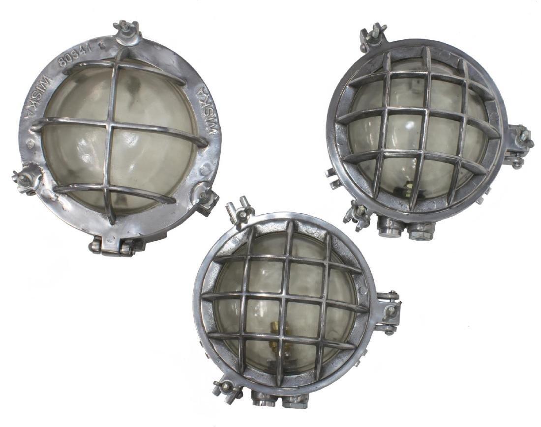(3) VINTAGE INDUSTRIAL ALUMINUM CAGED SHIPS LIGHTS