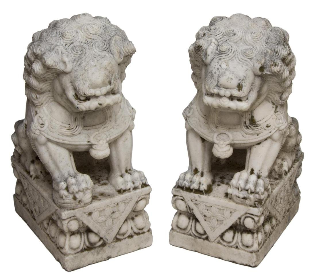 (2) LARGE CHINESE WELL CARVED MARBLE FOO LIONS