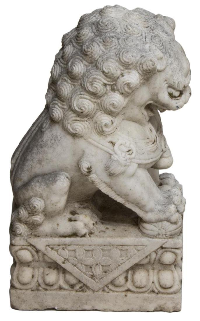 (2) LARGE CHINESE WELL CARVED MARBLE FOO LIONS - 2