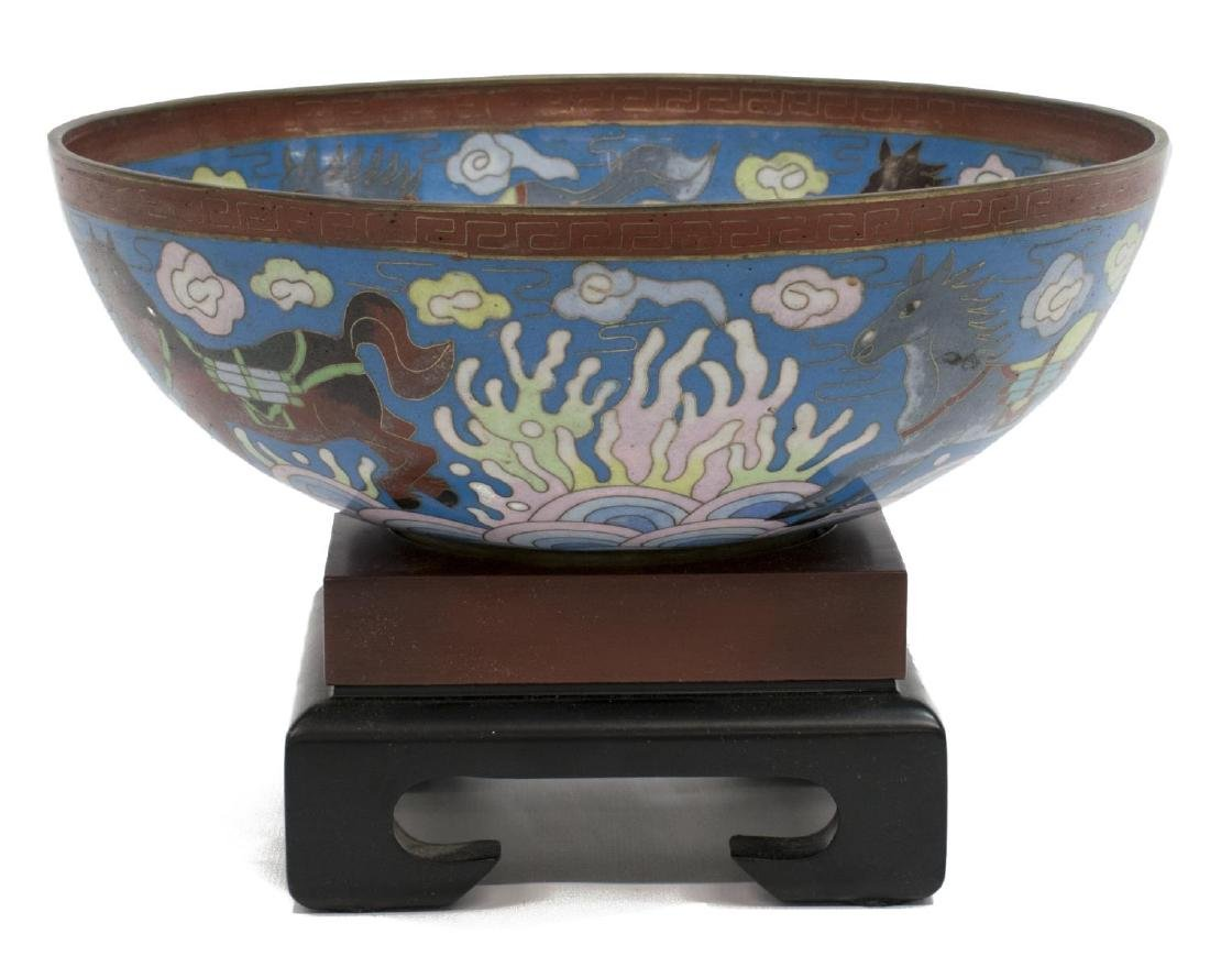 CHINESE CLOISONNE ENAMEL BOWL ON STAND, HORSES