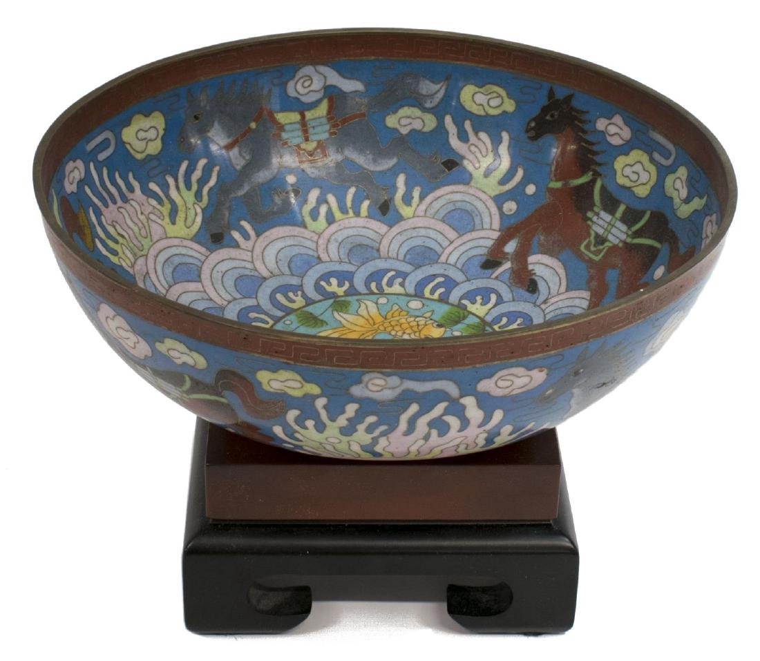CHINESE CLOISONNE ENAMEL BOWL ON STAND, HORSES - 2