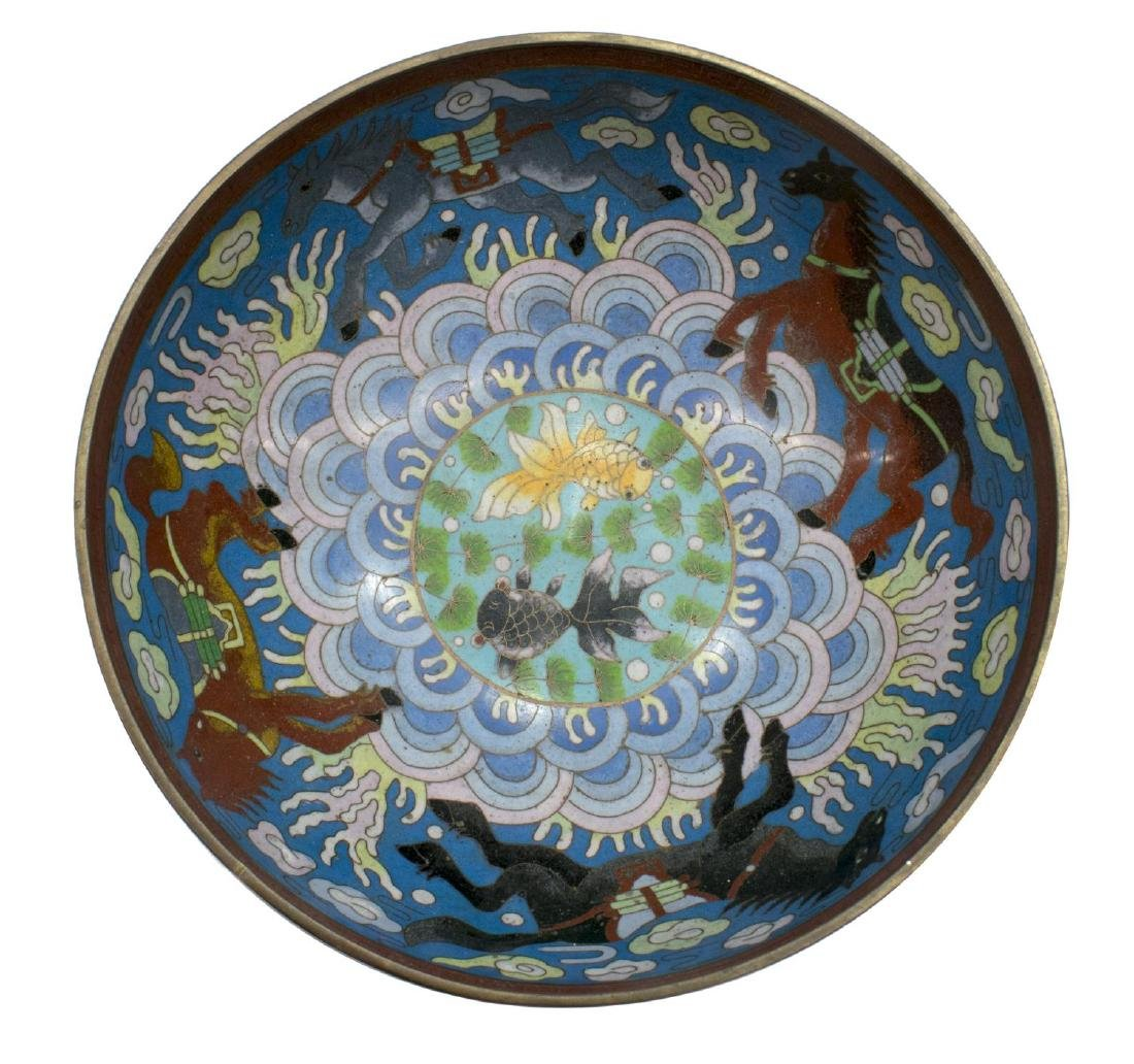 CHINESE CLOISONNE ENAMEL BOWL ON STAND, HORSES - 3