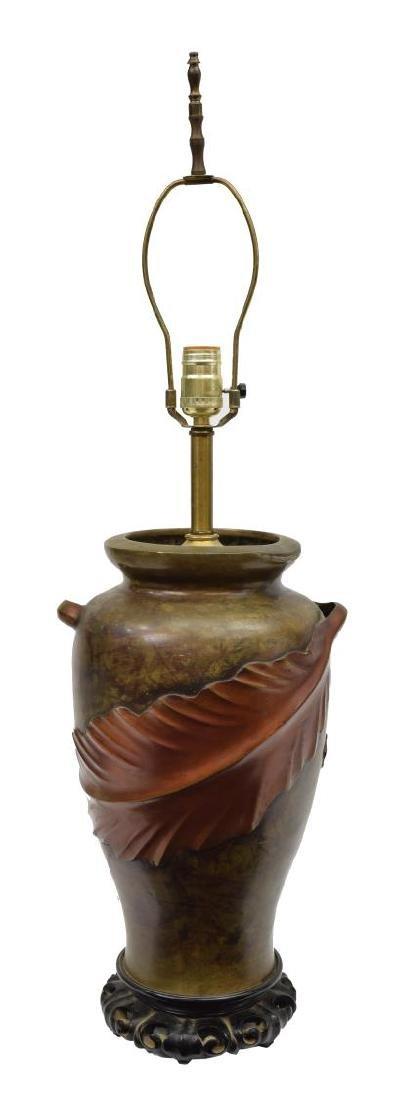 CHINESE BRONZE URN ON HARDWOOD BASE TABLE LAMP - 2