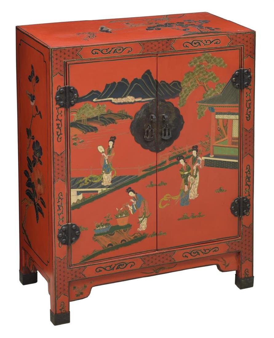 CHINESE RED LACQUER FIGURAL DECORATED CABINET