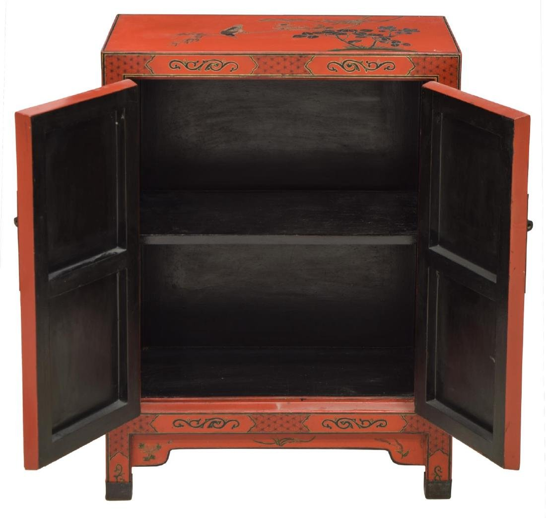 CHINESE RED LACQUER FIGURAL DECORATED CABINET - 2