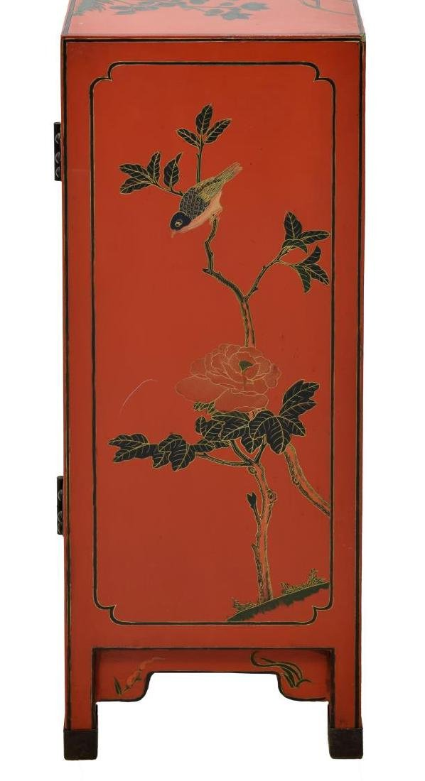 CHINESE RED LACQUER FIGURAL DECORATED CABINET - 3