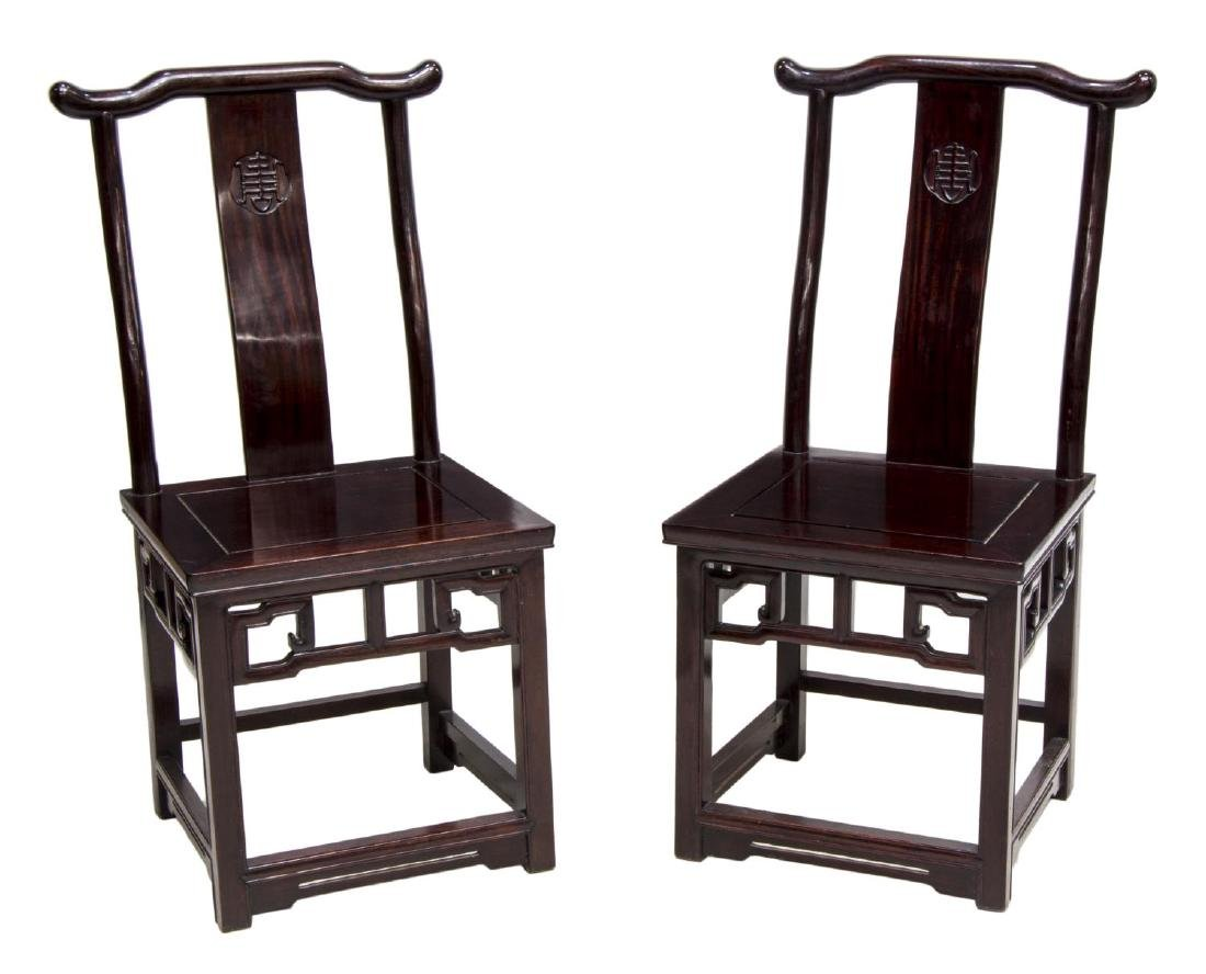 (2) CHINESE CARVED ROSEWOOD SIDE CHAIRS
