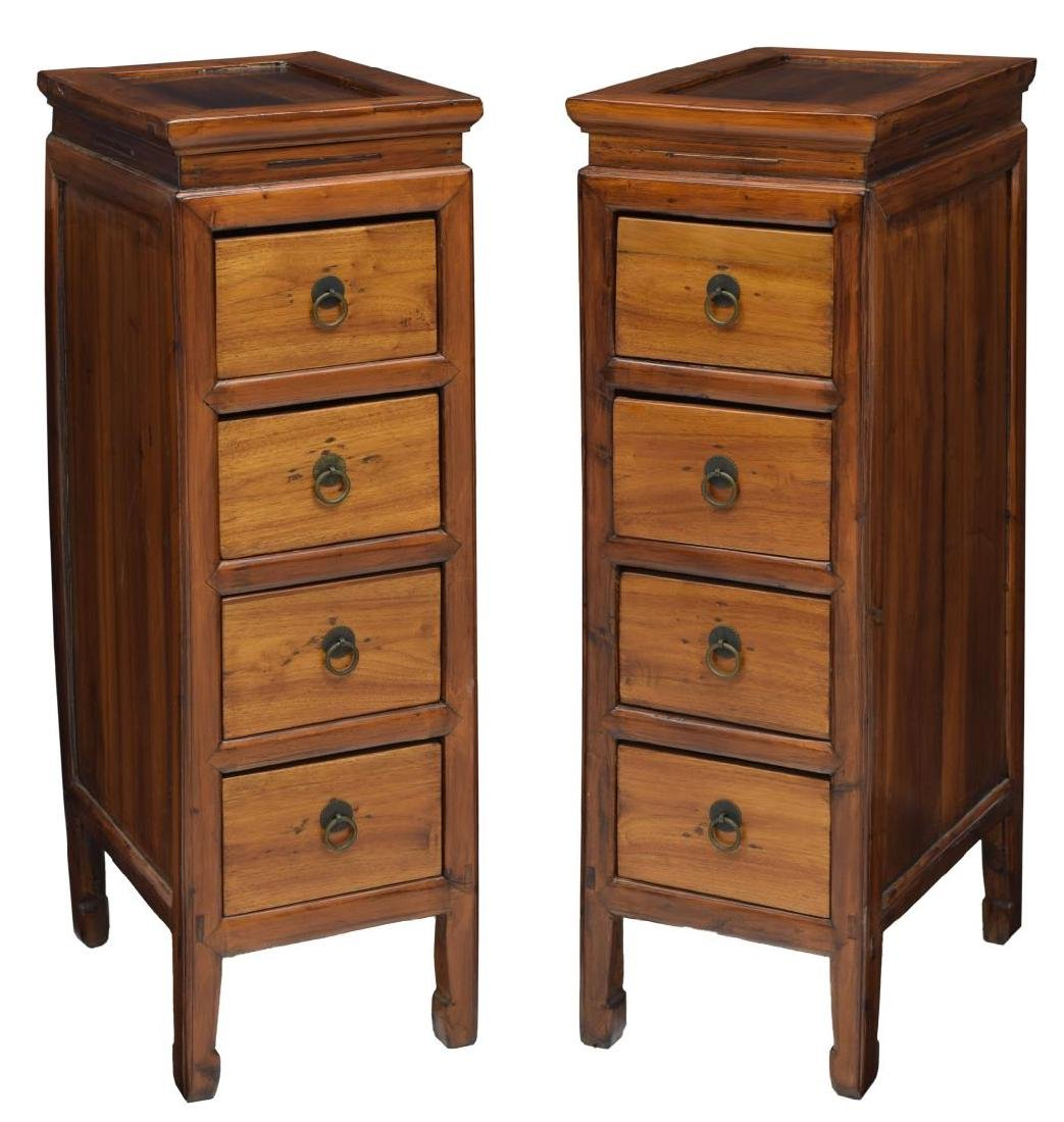 (2) CHINESE UPRIGHT ELMWOOD 4 DRAWER CABINETS