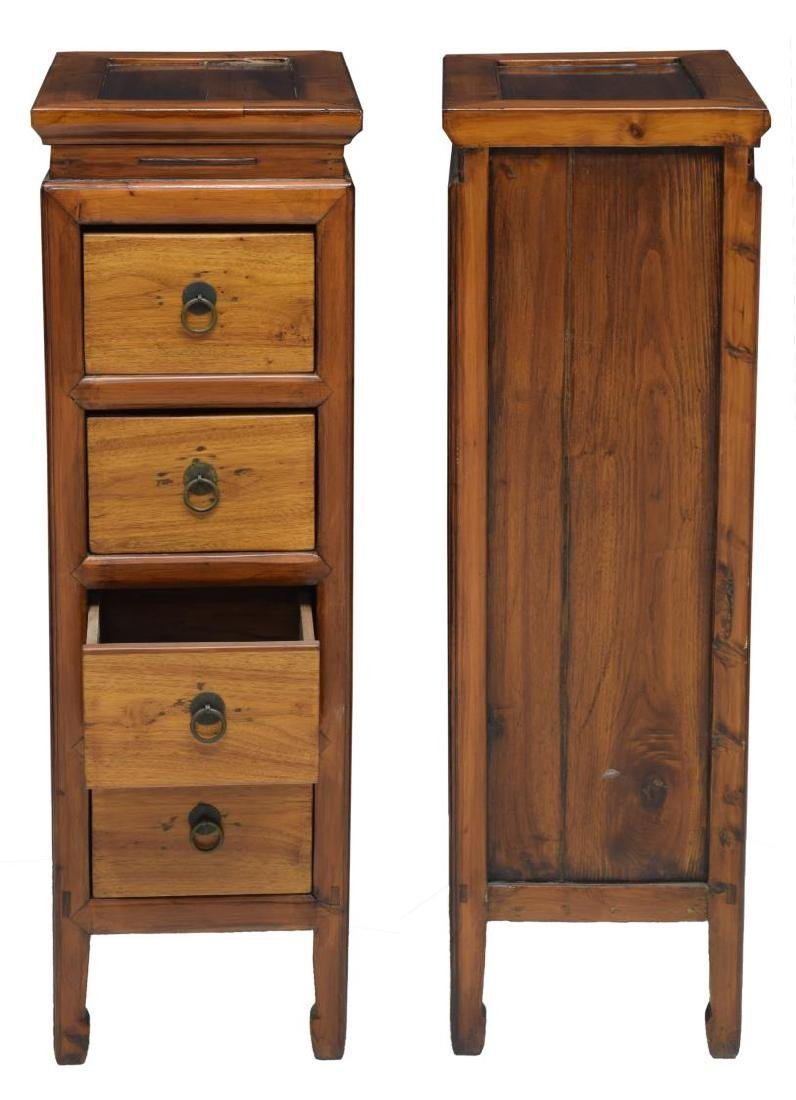 (2) CHINESE UPRIGHT ELMWOOD 4 DRAWER CABINETS - 2