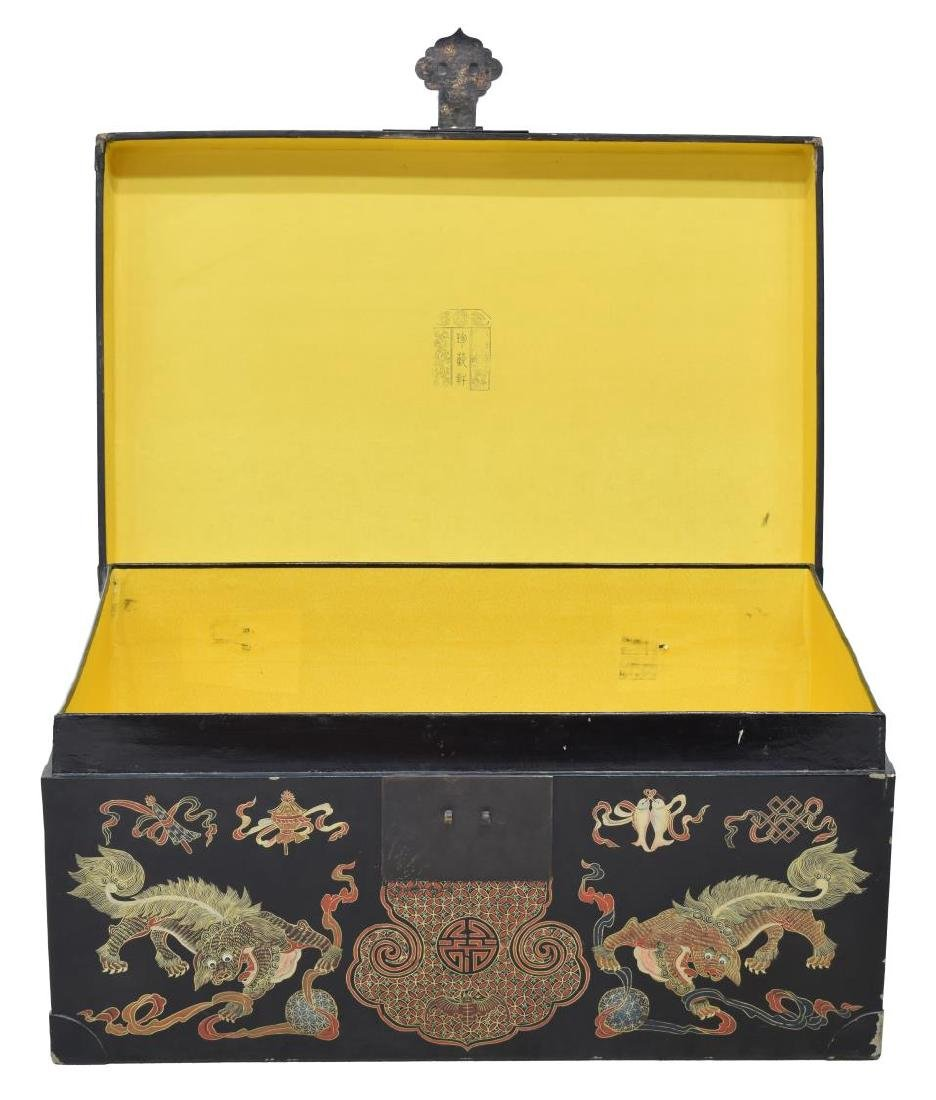 CHINESE BLACK LACQUER DRAGON DECORATED TRUNK - 3