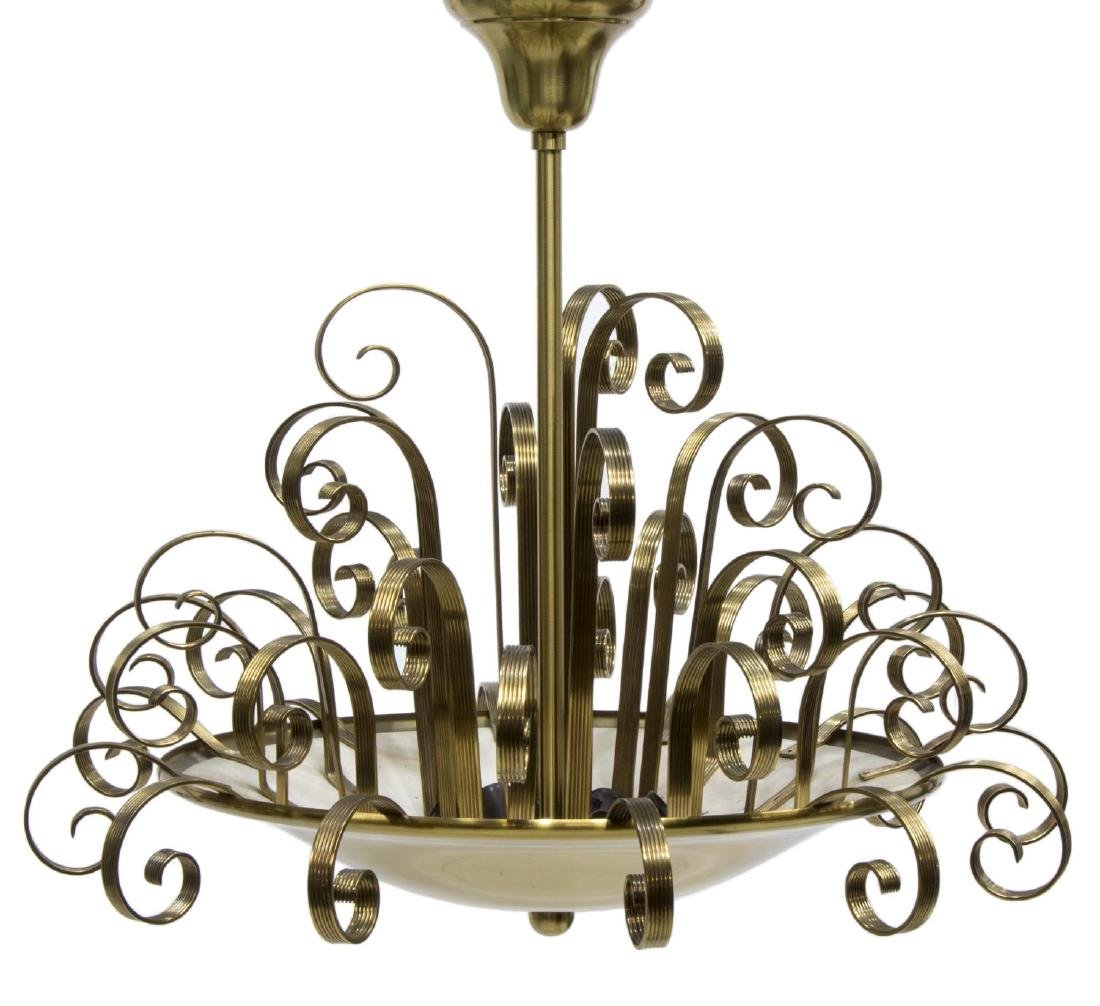ART DECO BRASS SCROLLS HANGING PENDANT LIGHT