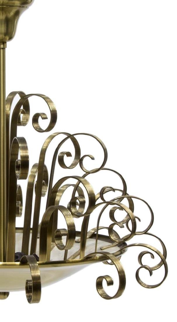 ART DECO BRASS SCROLLS HANGING PENDANT LIGHT - 2
