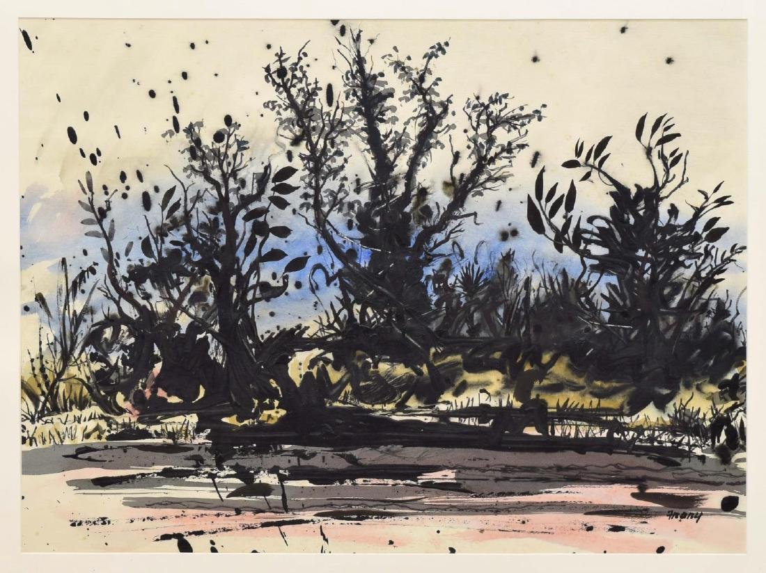 MICHAEL FRARY (1918-2005) WATERCOLOR, TREES
