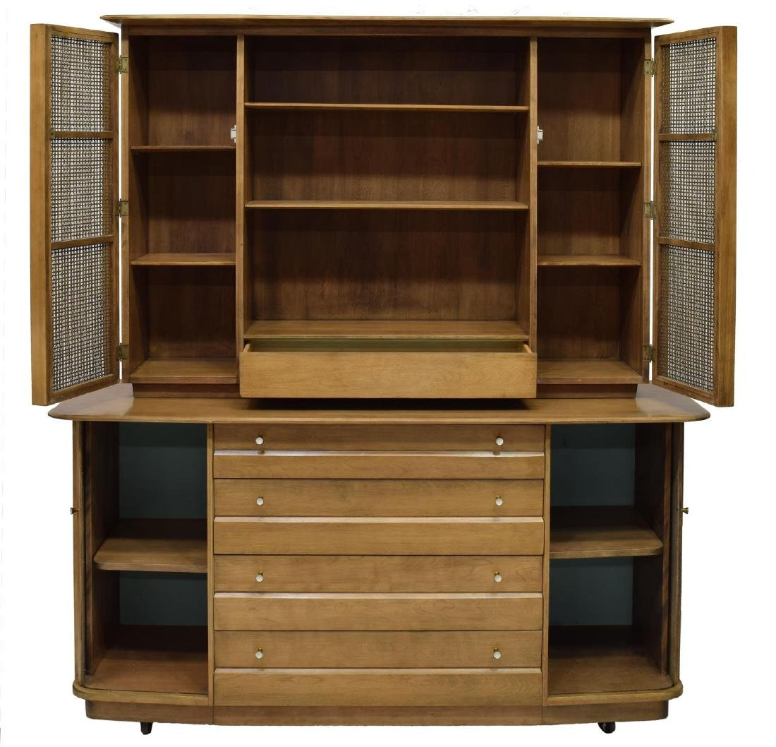 HEYWOOD WAKEFIELD CHINA CABINET, TAMBOUR DOORS - 2