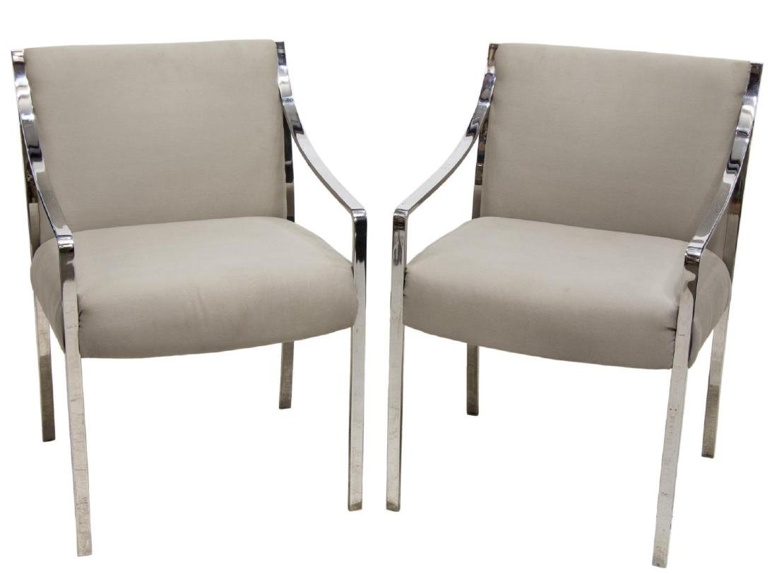 (2) STOW & DAVIS MODERN CHROME ARM CHAIRS