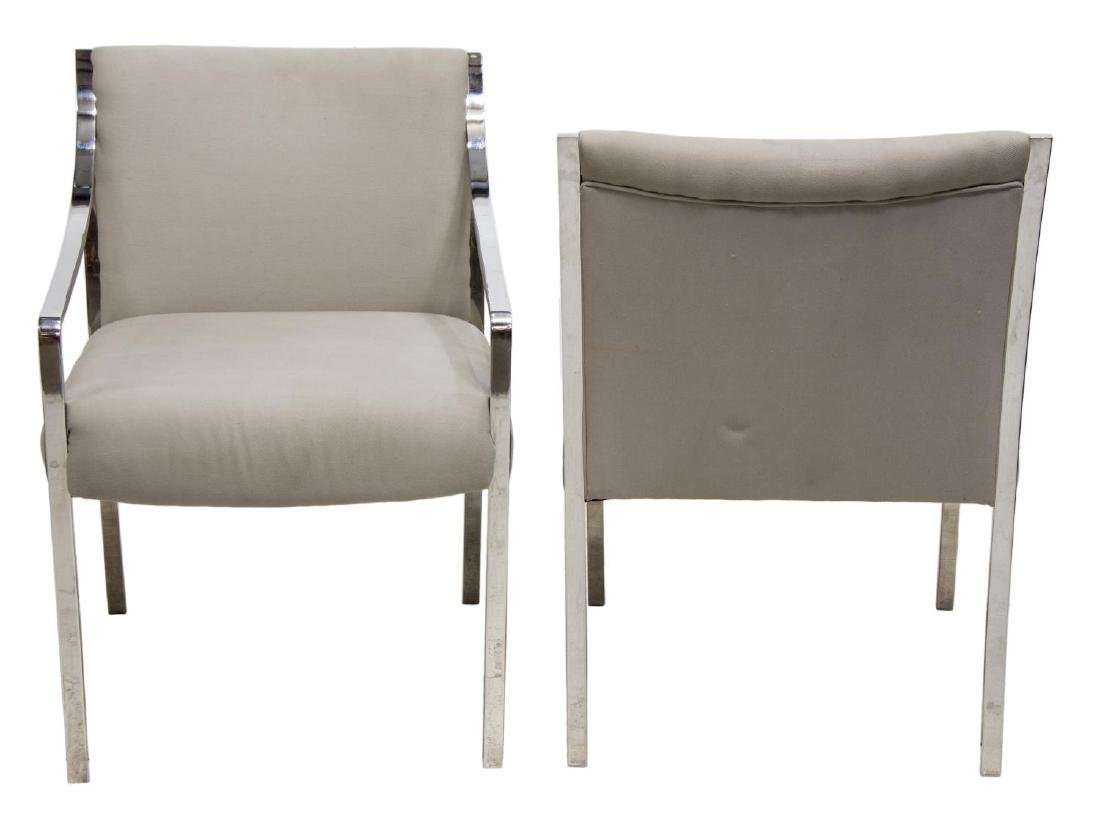 (2) STOW & DAVIS MODERN CHROME ARM CHAIRS - 2
