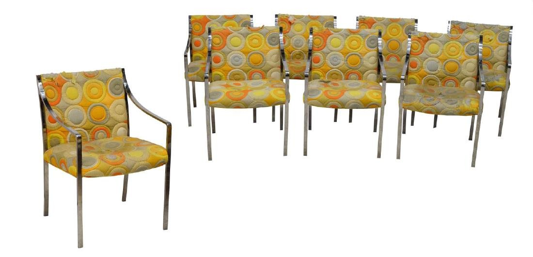 (8) STOW & DAVIS MODERN CHROME ARM CHAIRS