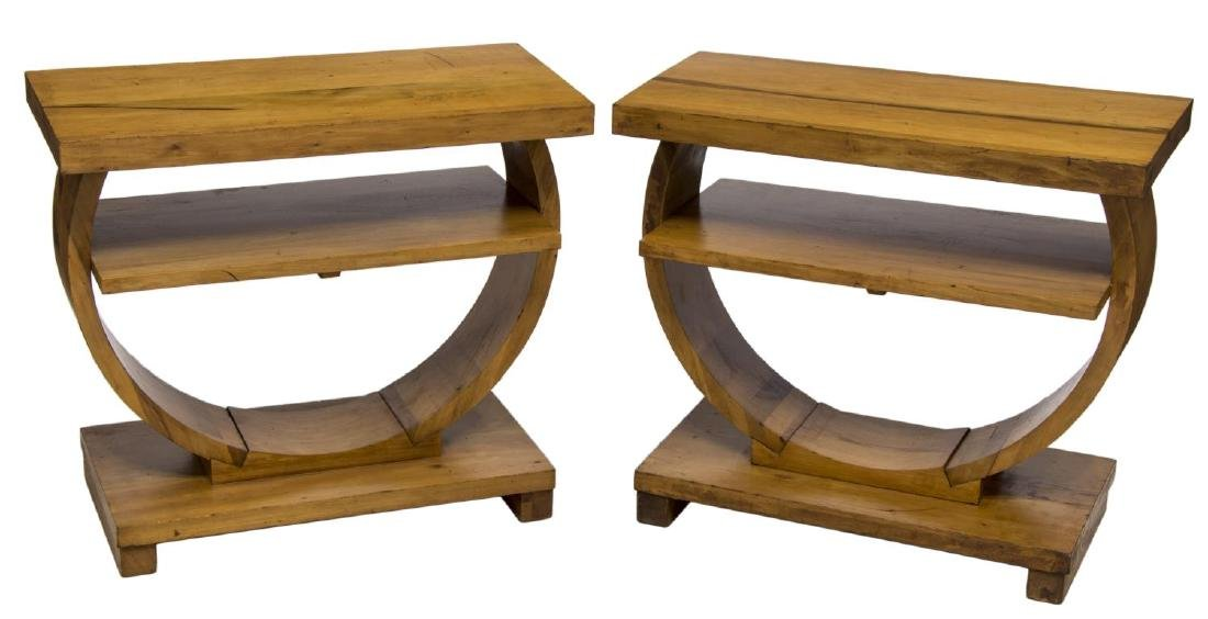 BROWN SALTMAN ART DECO STYLE END TABLES