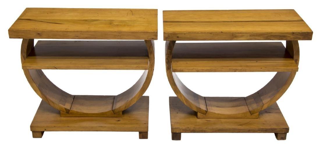 BROWN SALTMAN ART DECO STYLE END TABLES - 2