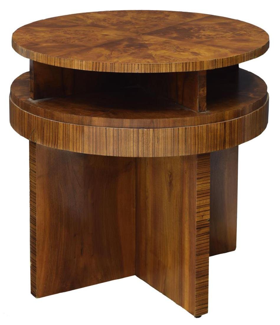 FRENCH ART DECO BURLWOOD VENEER SIDE TABLE