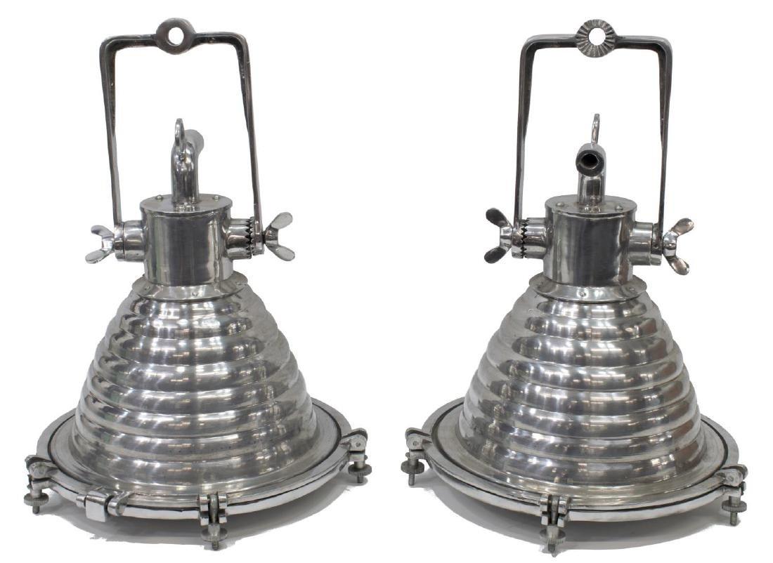 (2) GERMAN WISKA VINTAGE STYLE SHIP'S PENDANT LAMP