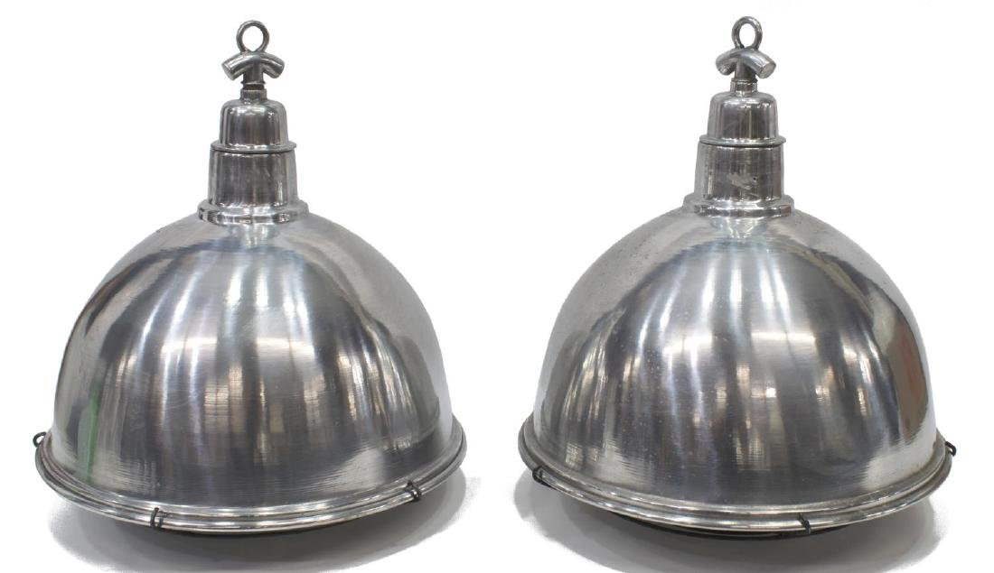(2) INDUSTRIAL STYLE ALUMINUM HANGING LIGHTS