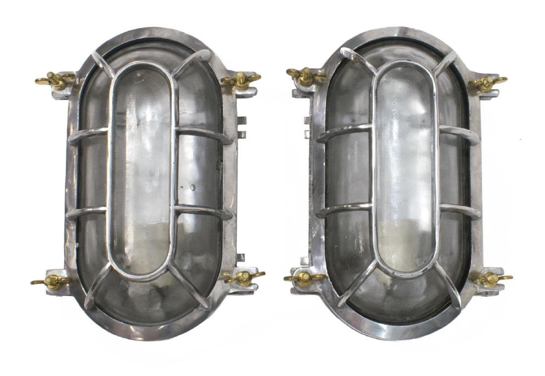(2) INDUSTRIAL STYLE CAGE ALUMINUM WALL LIGHTS