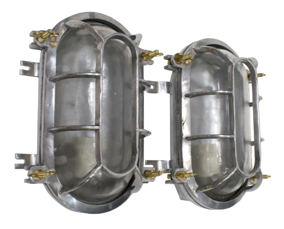 (2) INDUSTRIAL STYLE CAGE ALUMINUM WALL LIGHTS - 2