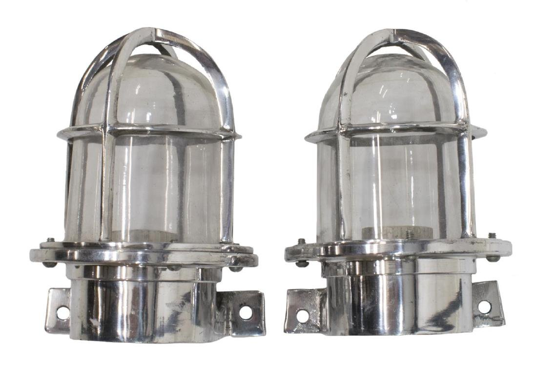 (2) INDUSTRIAL STYLE ALUMINUM CAGED WALL SCONCES