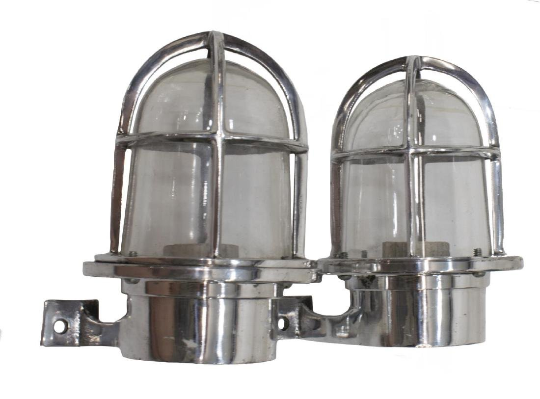 (2) INDUSTRIAL STYLE ALUMINUM CAGED WALL SCONCES - 2