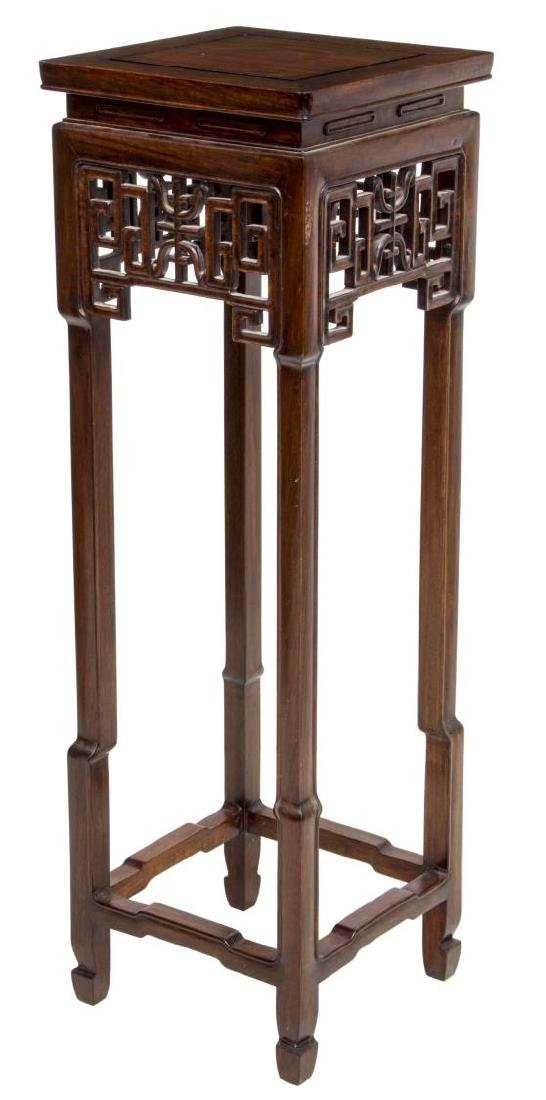 CHINESE CARVED ROSEWOOD PEDESTAL