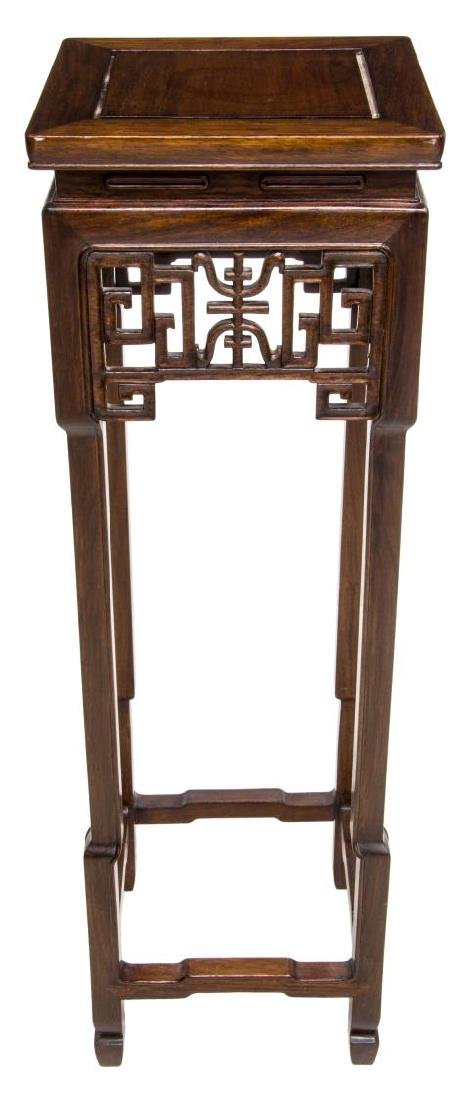 CHINESE CARVED ROSEWOOD PEDESTAL - 2