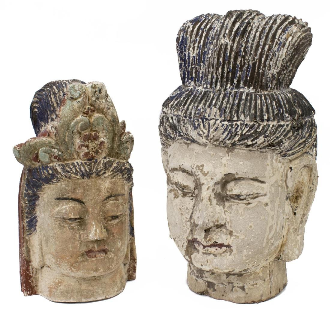 (2) CHINESE CARVED WOOD HEADS OF GUANYIN & BUDDHA