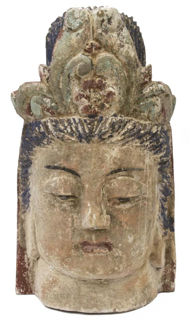 (2) CHINESE CARVED WOOD HEADS OF GUANYIN & BUDDHA - 2