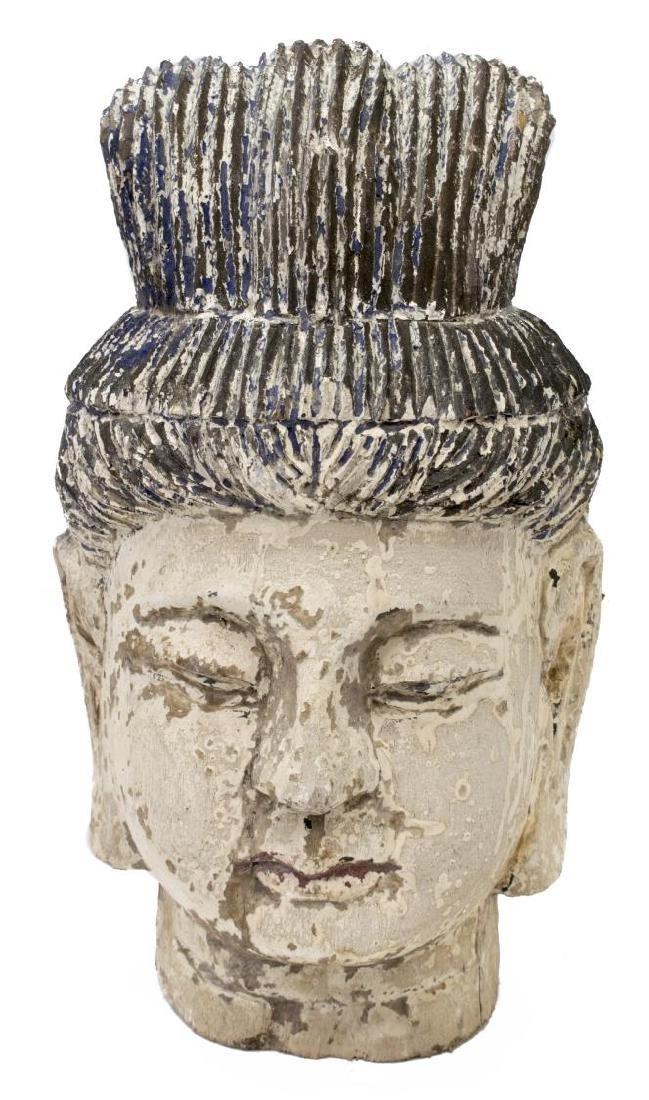 (2) CHINESE CARVED WOOD HEADS OF GUANYIN & BUDDHA - 3
