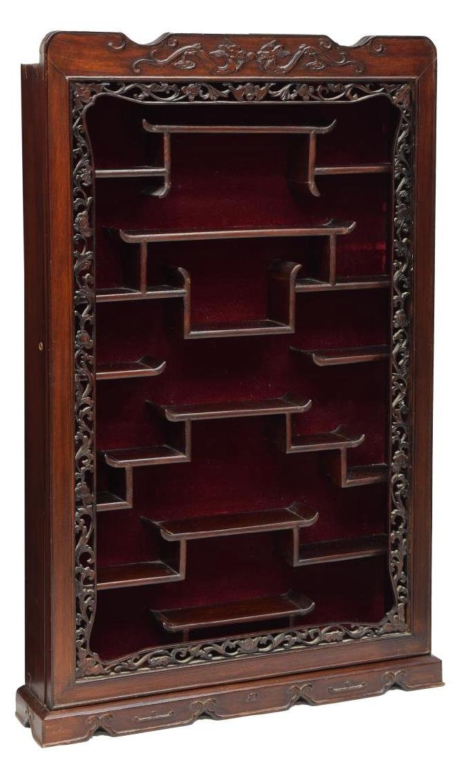 CHINESE CARVED ROSEWOOD HANGING CURIO CABINET