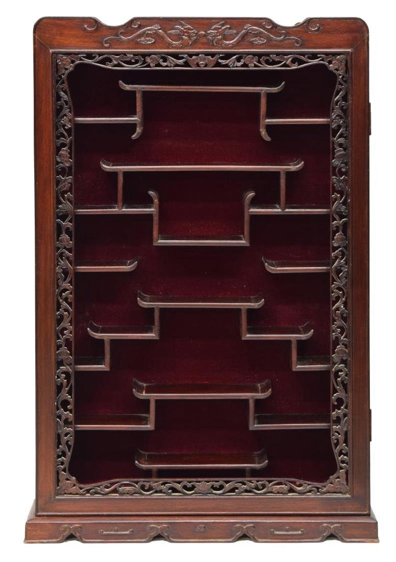 CHINESE CARVED ROSEWOOD HANGING CURIO CABINET - 2