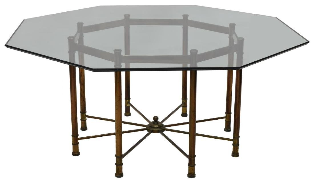 LARGE MASTERCRAFT GLASS & STEEL DINING TABLE