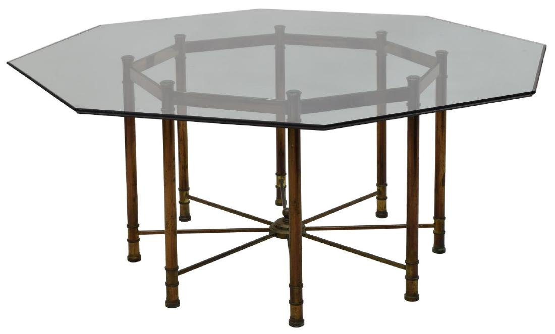 LARGE MASTERCRAFT GLASS & STEEL DINING TABLE - 2