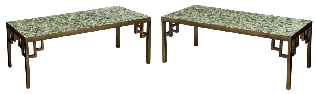 (PAIR) MOSAIC DESIGN METAL FRAMED TABLES